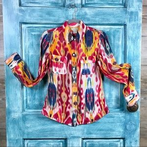 Lucky Brand Olivia Ikat Silk Shirt/Long Slv/XS